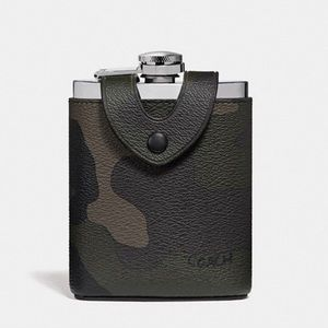 COACH Camouflage Multi Green PVC Leather Flask NWT